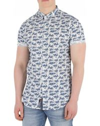 Superdry - Micro Bamboo Navy Slim Fit Pool Side Shirt - Lyst