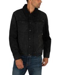Superdry Hacienda Sherpa Denim Jacket - Black