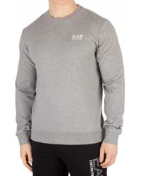 EA7 - Medium Grey Melange Chest Logo Sweatshirt - Lyst