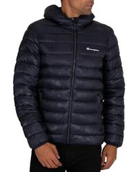 Champion Hooded Puffer Jacket - Blue