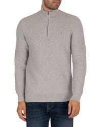 Hackett Textured Mouline Zip Knit - Grey
