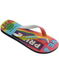 Havaianas Top Pride Rainbow Flip Flops - Black