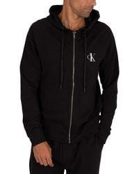 Calvin Klein Lounge Ck One Zip Hoodie - Black