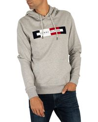 Tommy Hilfiger Logo Pullover Hoodie - Grey