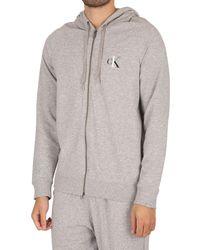 Calvin Klein Lounge Ck One Full Zip Hoodie - Grey