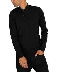 John Smedley Cotswold Longsleeved Polo Shirt - Black