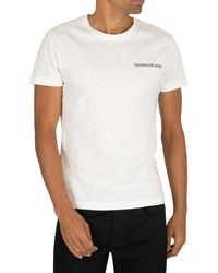Calvin Klein Chest Institutional Slim Ss Tee Men's T Shirt In White