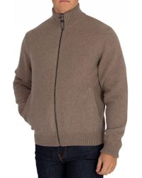 Hackett Taupe Reversible Hybrid Zip Sweater - Brown