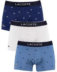 Lacoste 3 pack Men/'s Casual Cotton Stretch Boxer Briefs White//Green//Navy  M L XL