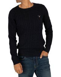 GANT Cotton Cable Sweatshirt - Blue