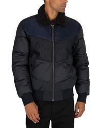 G-Star RAW Ore Denim Mix Fur Collar Jacket - Blue