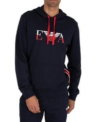 Emporio Armani Lounge Graphic Pullover Hoodie - Blue