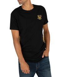 SIKSILK Foil Fade Panel T-shirt - Black