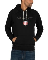 GANT Shield Pullover Hoodie - Black
