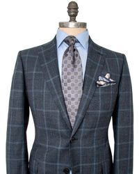 Belvest - Charcoal Houndstooth With Blue Windowpane Suit - Lyst