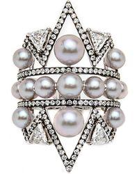 Nikos Koulis - Pearl And Diamond Ring - Lyst