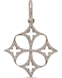 Loree Rodkin White Gold Pave Diamond Open Clover Cross Pendant - Black