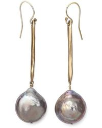 Julie Cohn - Twig Grey Pearl Earrings - Lyst