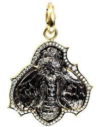 Sylva & Cie Diamond And Silver Calcite Carved Bee Pendant - Black