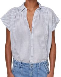 Citizens of Humanity - Cloud Stripe Penny Short Sleeve Blouse L - Lyst