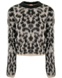 Nude - Leopard Print Off White Sweater - Lyst