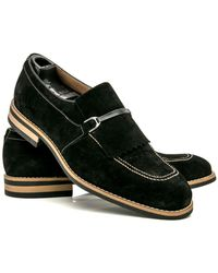Artioli - Black Suede Kilted Loafer - Lyst