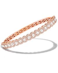 64 Facets - Rose Gold Diamond Half Scallop Bangle Bracelet - Lyst