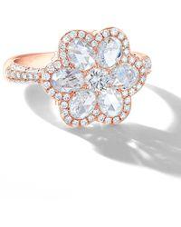 64 Facets Rose Gold Diamond Flower Ring - Black