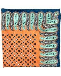 Edward Armah | Orange And Navy Paisley Floral Pocket Square | Lyst