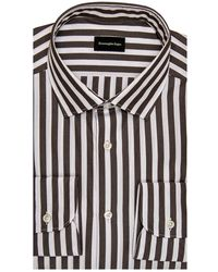 Ermenegildo Zegna Chocolate Awning Stripe Dress Shirt 40 Metric - Black