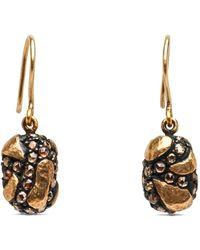 Yossi Harari Libra Cognac Diamond Drop Earrings - Black