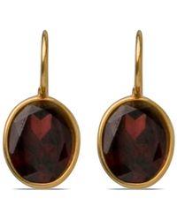 Darlene De Sedle Small Oval Faceted Garnet Earrings - Black