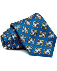 Kiton Blue And Orange Medallion Tie - Black