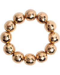 Nest - Hammered Gold Beaded Stretch Bracelet - Lyst