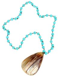 Nest Turquoise Bead Chain Horn Pendant - Black