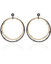 Nancy Newberg - Gold And Oxidized Silver Double Hoop Earrings - Lyst