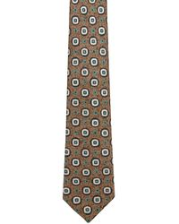 Kiton - Brown With Navy And Ivory Geometric Tie - Lyst