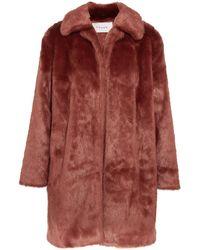 FRAME Faux Fur Coat - Red