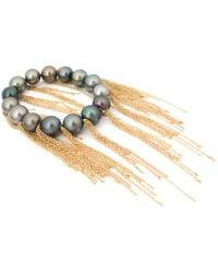 Samira 13 Tahitian South Sea Pearl Gold Fringe Bracelet - Black