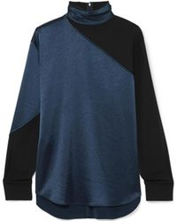 Cedric Charlier - Two Tone Satin And Crepe Turtleneck Top - Lyst