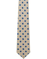 Kiton - Ivory With Blue Medallion Tie - Lyst