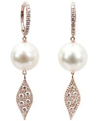 Samira 13 Australian Pearl Diamond Marquise Drop Earrings - Black