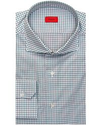 Isaia White With Green And Gray Check Dress Shirt 41 Metric