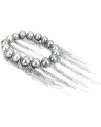 Samira 13 South Sea Pearl White Gold Fringe Bracele - Black