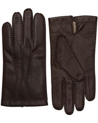 Dents - Brown Cashmere Lined Touchscreen Leather Gloves - Lyst