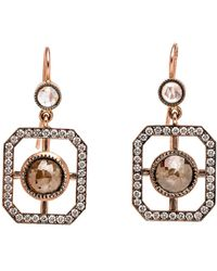 Sylva & Cie - Rough Cut Diamond Window Earrings - Lyst