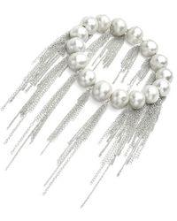Samira 13 Silver Fresh Water Pearl Silver Fringe Bracelet - Black