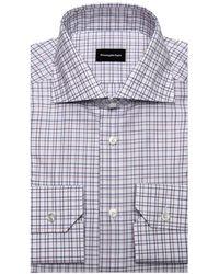 Ermenegildo Zegna Blue And Brown Check Dress Shirt - Black