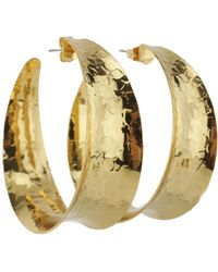 Nest Hammered Gold Concave Hoop Earrings - Black