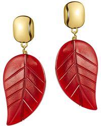 Nest | Red Horn Leaf Drop Earrings | Lyst